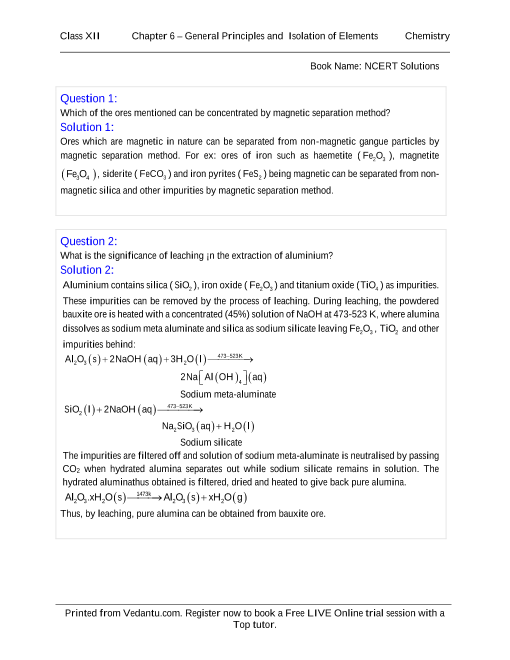 NCERT Solutions for Class 12 Chemistry Chapter 6 part-1