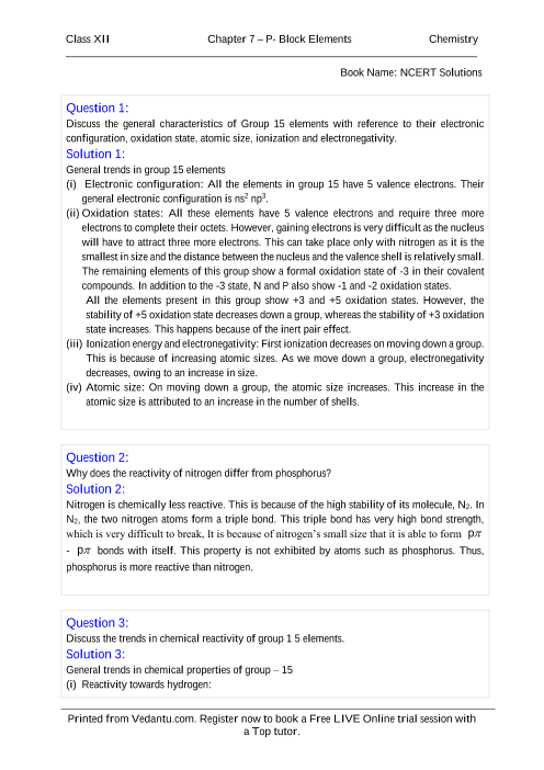 NCERT Solutions for Class 12 Chemistry Chapter 7 part-1