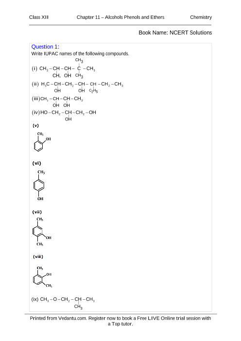 NCERT Solutions for Class 12 Chemistry Chapter 11 part-1