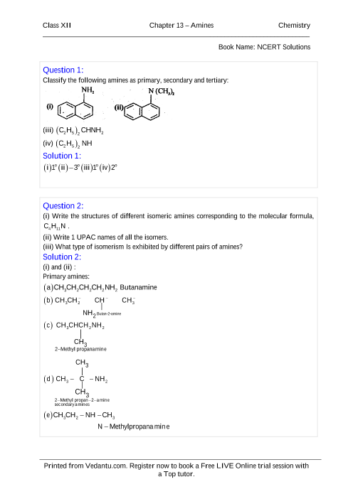 NCERT Solutions for Class 12 Chemistry Chapter 13 part-1