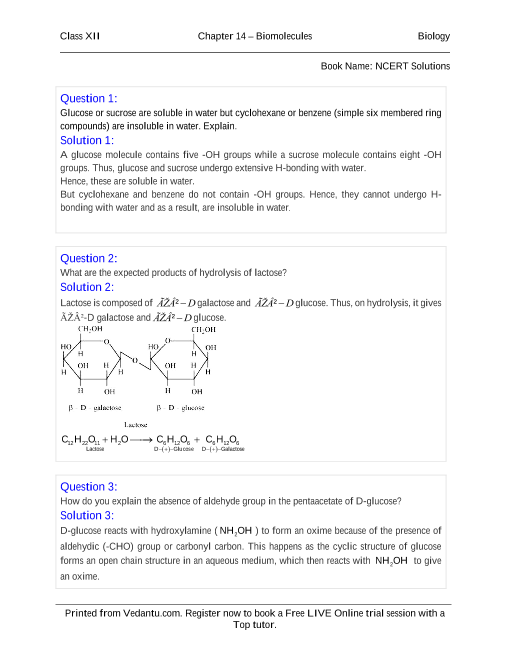 NCERT Solutions for Class 12 Chemistry Chapter 14 part-1