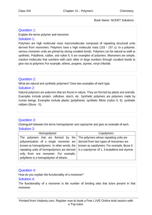 NCERT Solutions for Class 12 Chemistry Chapter 15 part-1