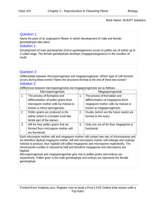 NCERT Solutions for Class 12 Biology Chapter 2 part-1