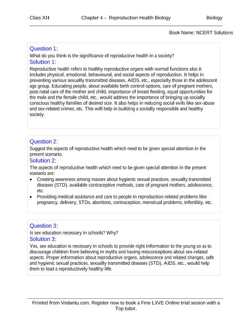 NCERT Solutions for Class 12 Biology Chapter 4 part-1