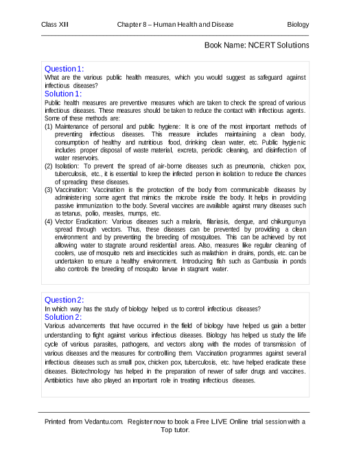 NCERT Solutions for Class 12 Biology Chapter 8 part-1
