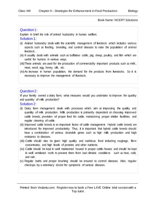 NCERT Solutions for Class 12 Biology Chapter 9 part-1
