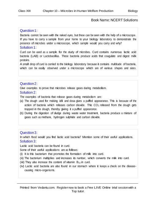 NCERT Solutions for Class 12 Biology Chapter 10 part-1