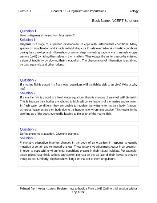 NCERT Solutions for Class 12 Biology Chapter 13 part-1