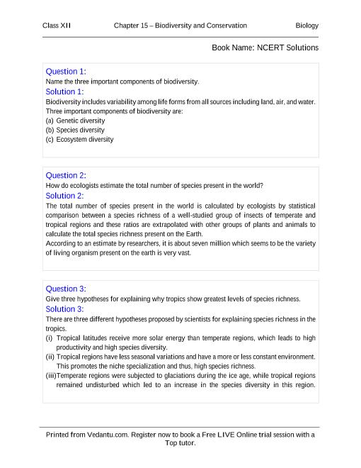 NCERT Solutions for Class 12 Biology Chapter 15 part-1