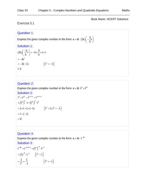 NCERT Solutions for Class 11 Maths Chapter 5 part-1