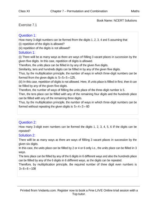 NCERT Solutions for Class 11 Maths Chapter 7 part-1