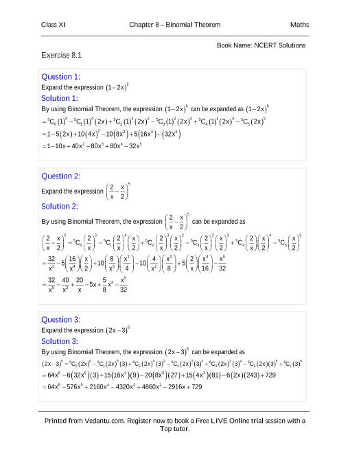 NCERT Solutions for Class 11 Maths Chapter 8 part-1