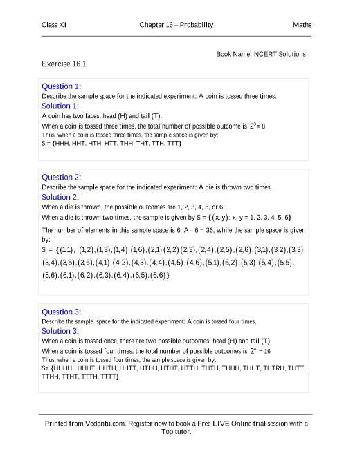 NCERT Solutions for Class 11 Maths Chapter 16 part-1