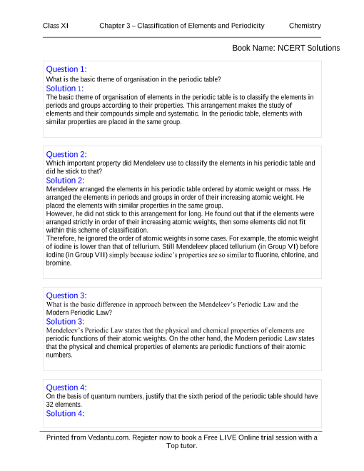 NCERT Solutions for Class 11 Chemistry Chapter 3 part-1