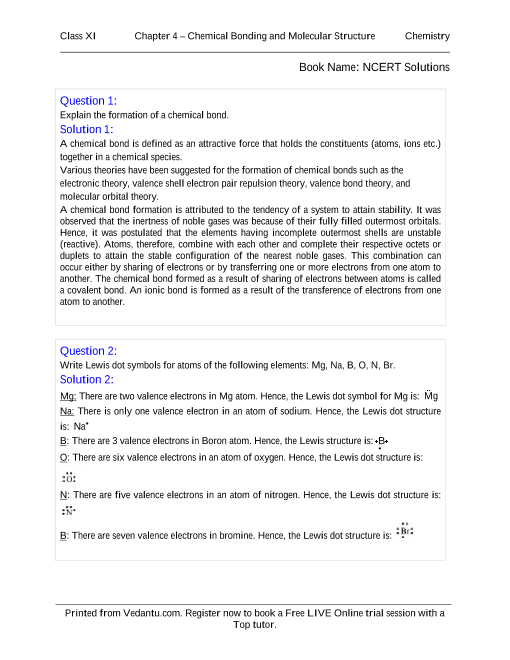 NCERT Solutions for Class 11 Chemistry Chapter 4 part-1