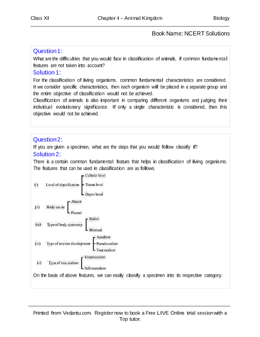 NCERT Solutions for Class 11 Biology Chapter 4 part-1