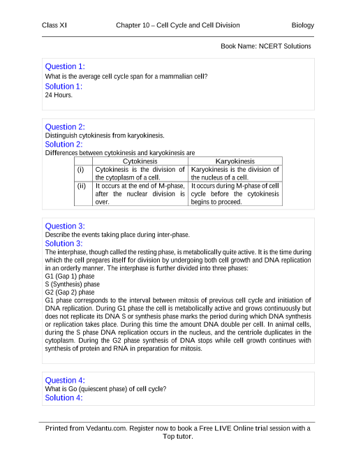 NCERT Solutions for Class 11 Biology Chapter 10 part-1