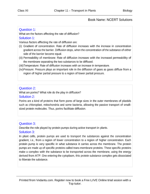 NCERT Solutions for Class 11 Biology Chapter 11 part-1