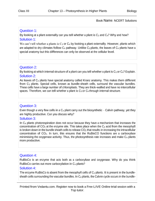 NCERT Solutions for Class 11 Biology Chapter 13 part-1