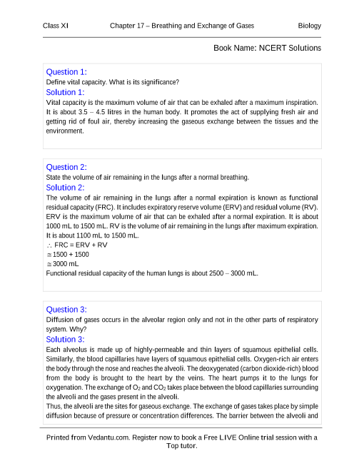 NCERT Solutions for Class 11 Biology Chapter 17 part-1