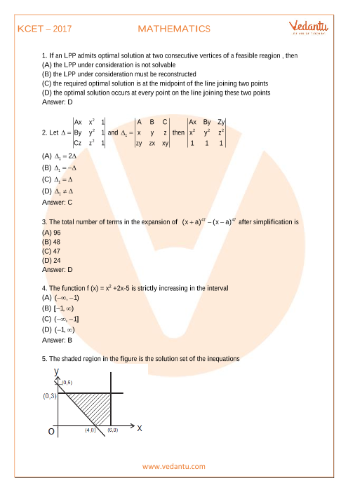KCET Previous Year Paper Maths-2017 part-1