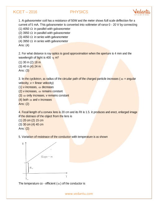 KCET Previous Year Paper 2016-PHYSICS part-1