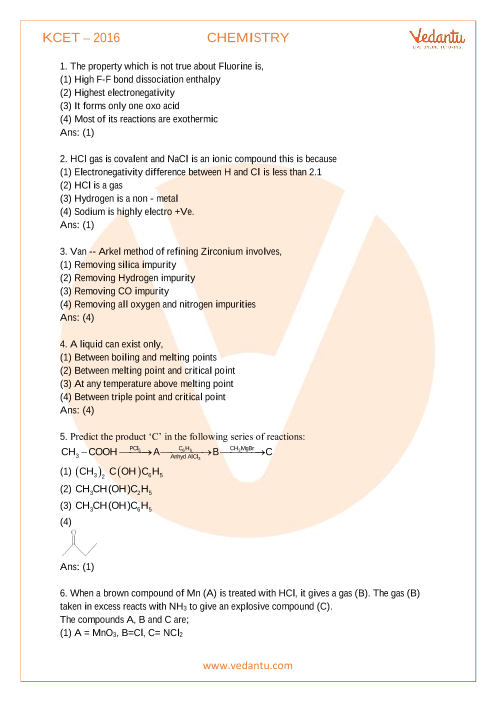 KCET Previous Year Paper 2016-CHEMISTRY part-1
