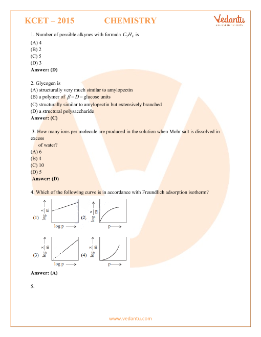 KCET Previous Year Paper Chemistry 2015 part-1