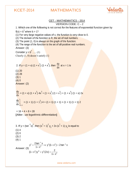KCET Previous Year Paper Maths 2014 part-1