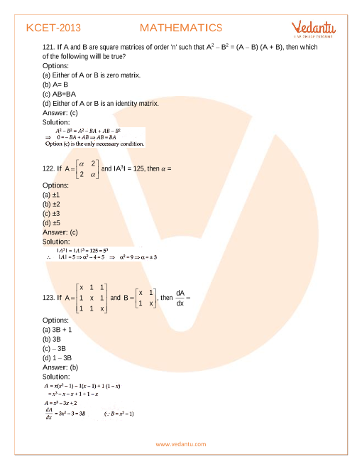 KCET Previous Year Paper Maths 2013 part-1