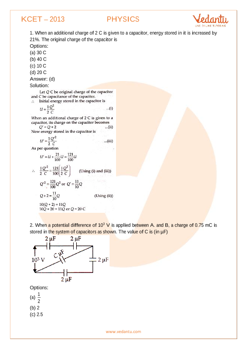 KCET Previous Year Paper Physics 2013 part-1