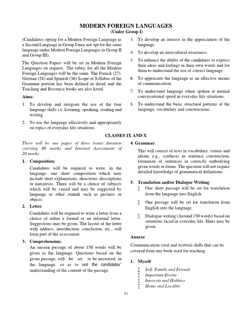 4.ICSE Class 9 Modern Foreign Languages Syllabus part-1