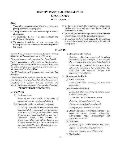 9.ICSE Class 9 Geography Syllabus part-1