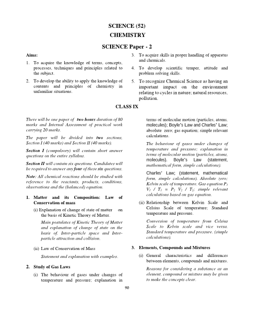 12.ICSE Class 9 Chemistry Syllabus part-1