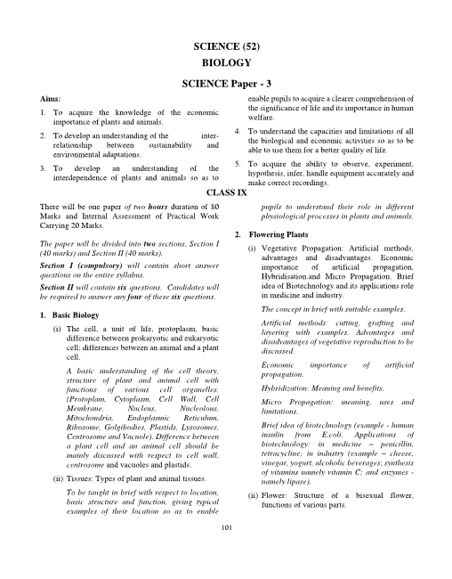 13.ICSE Class 9 Biology Syllabus part-1