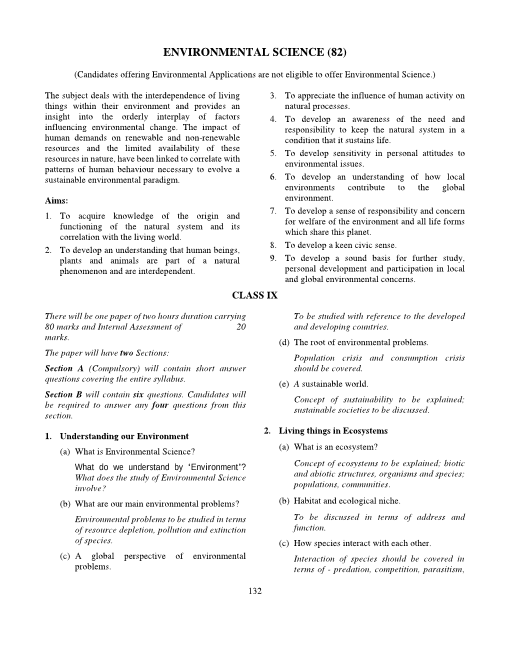 18.ICSE Class 9 Environmental Science Syllabus part-1