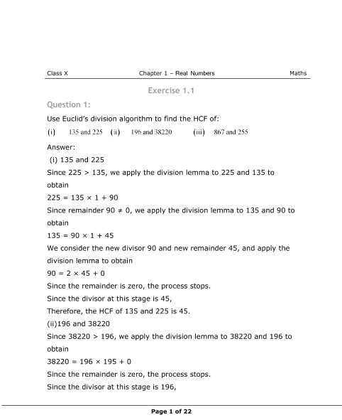 NCERT Solutions for Class 10 Maths Chapter 1 part-1