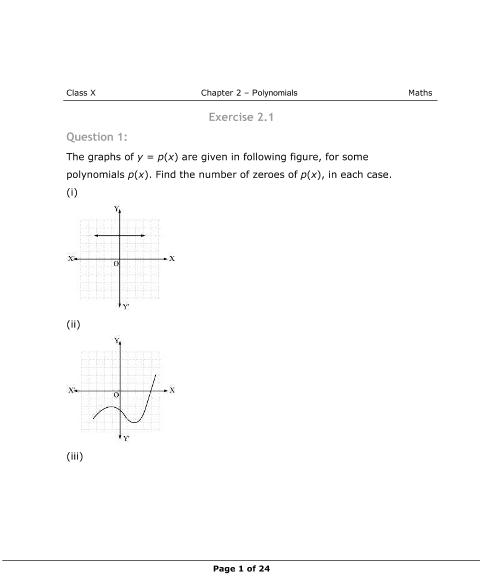 NCERT Solutions for Class 10 Maths Chapter 2 part-1