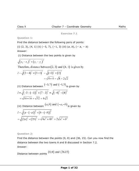 NCERT Solutions for Class 10 Maths Chapter 7 part-1
