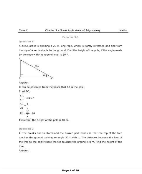 NCERT Solutions for Class 10 Maths Chapter 9 part-1