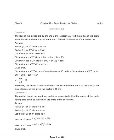 NCERT Solutions for Class 10 Maths Chapter 12 part-1