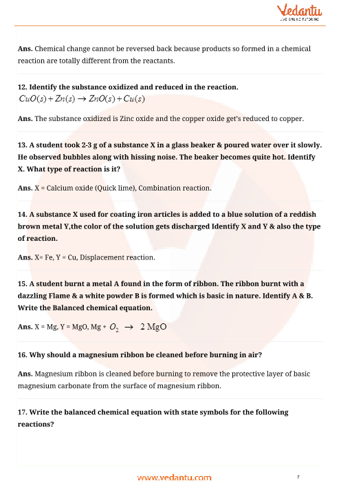 Important Questions For Cbse Class 10 Science Chapter 1 Chemical
