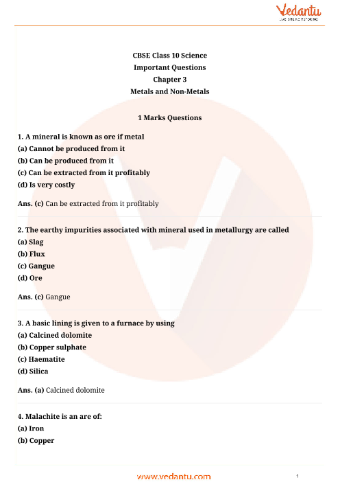 Important Questions for Class 10 Science Chapter-3 part-1