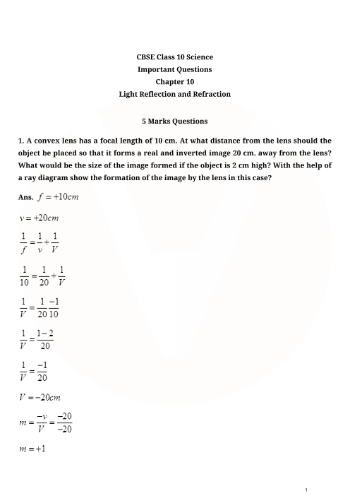 Important Questions for Class 10 Science Chapter-10 New part-1