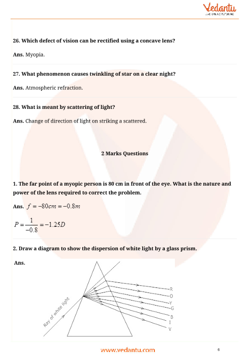 Important questions for cbse class 10 science chapter 11 human eye important questions for cbse class 10 science chapter 11 human eye and colourful world ccuart Gallery