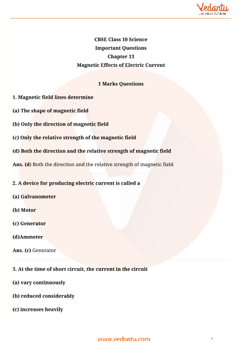 Important Questions for Class 10 Science Chapter-13 part-1