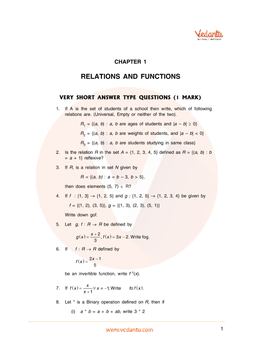 Important Questions Class 12 Maths Chapter 1 part-1