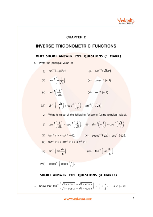 Important Questions Class 12 Maths Chapter 2 part-1