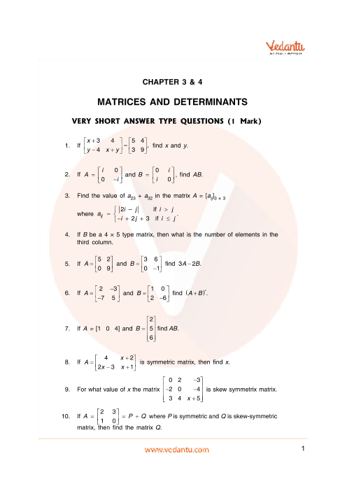 Important Questions Class 12 Maths Chapter 3 part-1