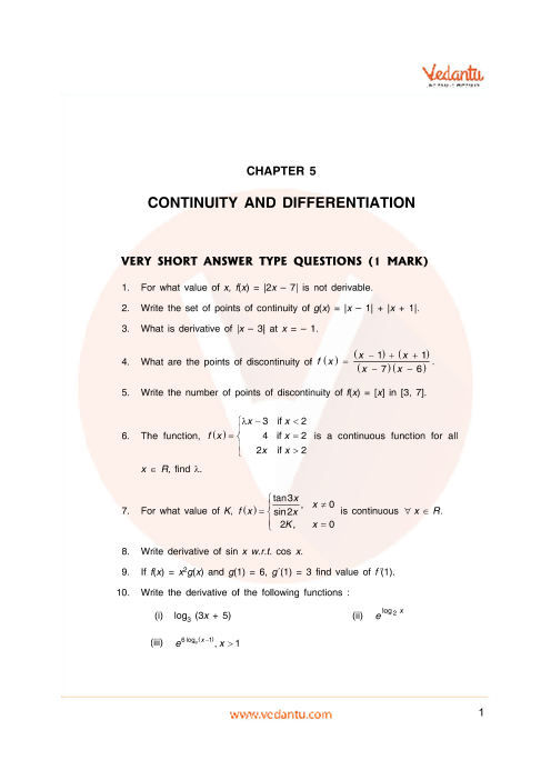 Important Questions Class 12 Maths Chapter 5 part-1